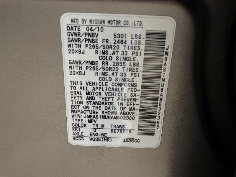 Infiniti FX 35 2010 price $8,995
