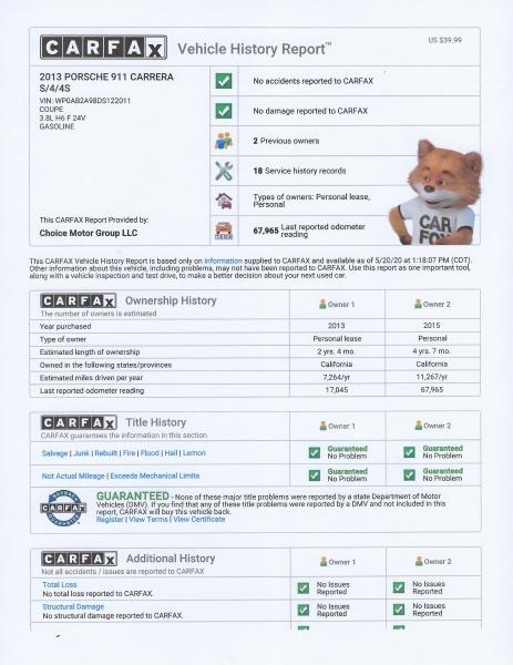 Porsche 911 2013 price $55,500
