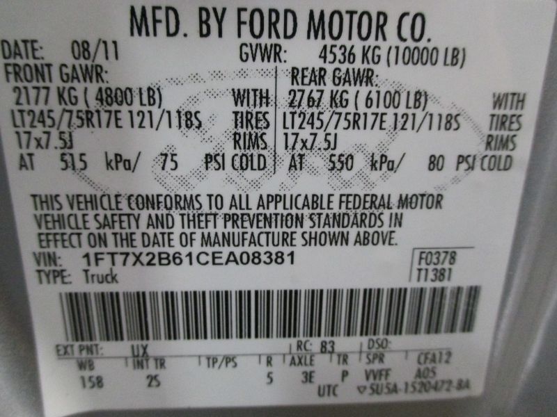 Ford Super Duty F-250 XL 4WD 2012 price $16,900