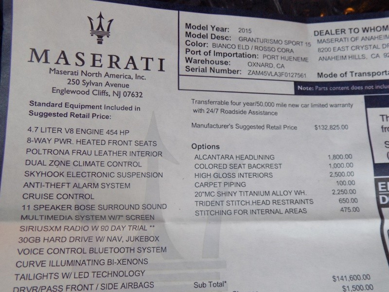 Maserati GranTurismo 2015 price $54,950
