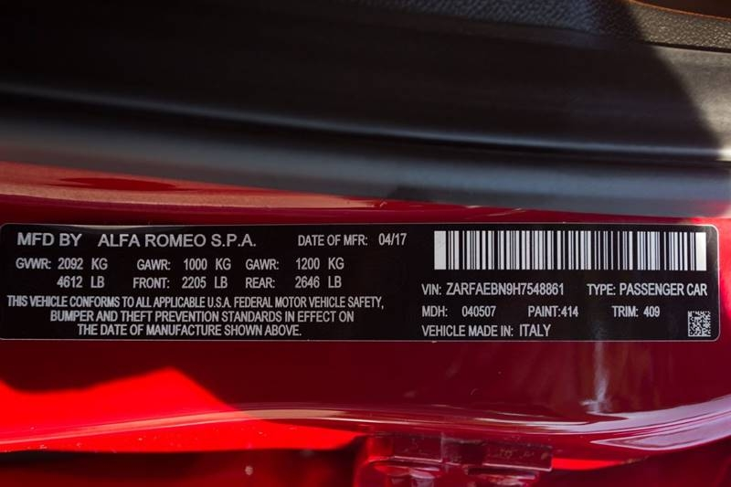 Alfa Romeo Giulia 2017 price $23,990
